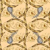Vector golden pattern Seamless golden textured curls Oriental style arabesques Beige background with golden elements Vector illustration