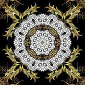 Vintage pattern on black background with golden elements and with white doodles Christmas snowflake new year