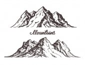 Mountains sketch Hand drawn vector illustration isolated on white background