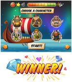 Slot game template with viking characters illustration
