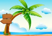 Scene with ocean and coconut tree illustration