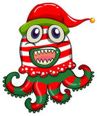 Christmas theme with monster in christmas hat illustration