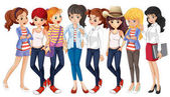 Girls in blue jeans illustration