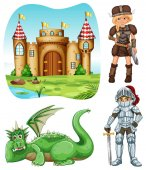 Medieval set with knight and dragon illustration
