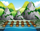 Wooden bridge across the river illustration