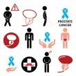 Постер, плакат: Prostate cancer awareness mens health icons set