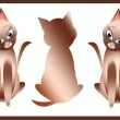 Постер, плакат: Kitty Cats in a Lineup Graphic Brown Gradient