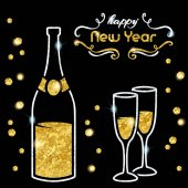 Elegant black new year's eve background with gold and silver champagne design Graphics are grouped and in several layers for easy editing The file can be scaled to any size
