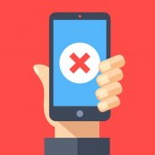 Red x mark icon on smartphone screen Hand holding smartphone with red cross Modern flat design graphic elements for web banners web sites printed materials infographics Vector illustration