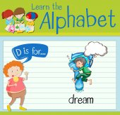 Flashcard letter D is for dream illustration
