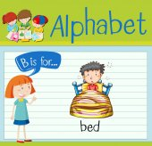 Flashcard alphabet B is for bed illustration