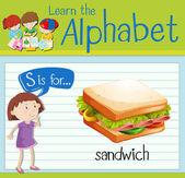 Flashcard letter S is for sandwich illustration