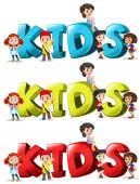 Font design for word kids in three colors illustration