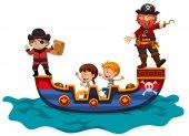 Kids riding on viking ship illustration