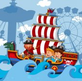Scene with kids on viking ship illustration