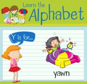 Flashcard letter Y is for yawn illustration