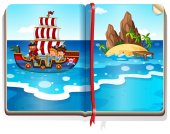 Book with kids sailing in the ocean illustration