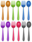 Six pairs of fork and spoon illustration