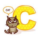 ABC ZOO Alphabet Letter C Cat Vector Illustration