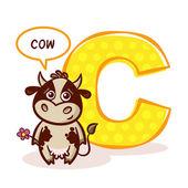 ABC ZOO Alphabet Letter C Cow Vector Illustration