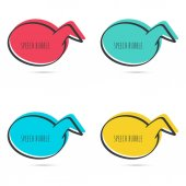 Set hand drawn speech bubble Vector frame Text box Multicolor red blue green yellow