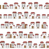 Vector seamlrss cartoon pattern made of collection houses in old European style Isolated white facades and red roofs