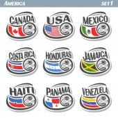 Vector set icons of Flags American National Teams with Soccer ball: teams countries centennial Cup America or copa america centenario north american football national logo flags for soccer tournament