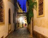Narrow street  in Olomouc, in the evening, Czech Republic