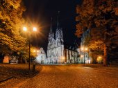 Svatováclavské katedrále v Olomouci v večer, Česká republika