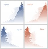 Set of blue and red forest backgrounds