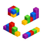 Illustration of different groups of colored cubes isolated on white background
