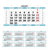 Illustration of blue calendar of 2017 year on white background