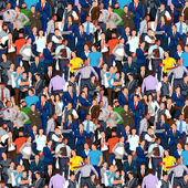 Illustration of colored business people crowd background