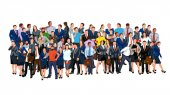 Illustration of colorful business people crowd isolated on white background