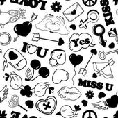 Black and white fun seamless pattern of love stickers emoji pins or patches in cartoon 80s-90s pop comic style Happy Valentine's day or wedding background
