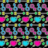 Colorful funny love seamless pattern of heart arrow man and woman sign in cartoon 80s-90s pop comic style Happy Valentine's day or wedding background