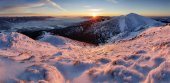 Sunset in mountain at winter
