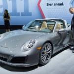 Постер, плакат: Porsche 911 convertible on display