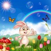 Vector illustration of Cartoon cute little rabbit giving thumbs up