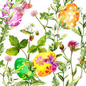 Easter eggs in grass. Seamless pattern with flowers, butterflies. Watercolor