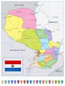 Paraguay detailed political road map and map pointers All elements are separated in editable layers clearly labeled