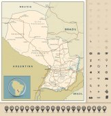 Highly detailed road map of Paraguay with roads railroads and water objects and navigation icons