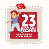Vector illustration of the 23 Nisan Cocuk Bayrami April 23 Turkish National Sovereignty and Children's Day design template for the Turkish holiday