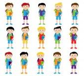 Sběr roztomilé a etnicky různorodých Mužští studenti a děti
