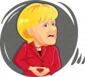 Caricature  of Angela Merkel