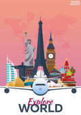 Travel poster. Discover Europe. Vacation. Trip to country. Travelling illustration. Modern vector flat.