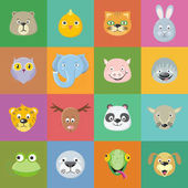 Collection of cute animal faces Animal head icon set Cartoon masks for masquerade holiday festival halloween Icons sticker of forest characters Isolated object in flat design Vector