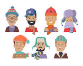 Set of icons of men in different colored hats and scarves in white background Men in cold weather Men with beards mustaches and glasses Clothes for winter and autumn Vector illustration