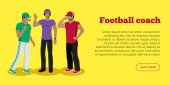 Football coaches web banner Cartoon soccer referees in uniform and hat speaking into lip-ribbon microphone Main referee Judging competition Football match Flat referee icon Football logo Vector
