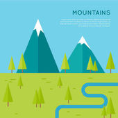 Mountains conceptual vector in flat style design Meadow with trees river and snow-capped mountains on the horizon  Banner for environmental ecological touristic concepts and web page design